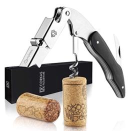 CORKAS Kellnermesser - multifunktionaler Korkenzieher mit Natur Ebenholzgriff - Weinöffner & Flaschenöffner für Kellner & Barkeeper - 1