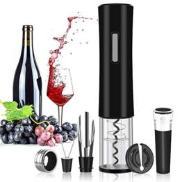 Rovtop Elektrischer Korkenzieher Automatischer Weinflaschenöffner aus Edelstahl mit Folienschneider, Wein Stöpsel, Weinausgießer und Weinring (Batterien Nicht enthalten) - 1