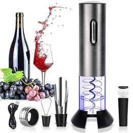 Rovtop Elektrischer Korkenzieher Edelstahl Automatischer Weinflaschenöffner Set mit Folienschneider - 1